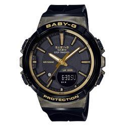 【CASIO 卡西歐】BABY-G 時尚運動雙顯女錶 樹脂錶帶 黑X金 防水100米(BGS-100GS-1A)