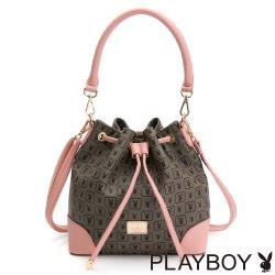 PLAYBOY-  抽繩水桶包  elegant系列-粉色