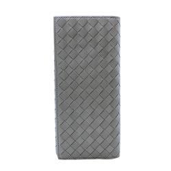 【BOTTEGA VENETA】經典編織小羊皮折疊手拿長夾(120697-灰)