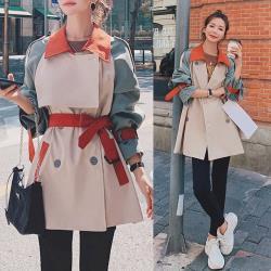 【K.W.韓國】 (現貨)  英倫風拼接撞色寬鬆風衣外套