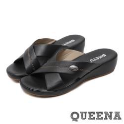 【QUEENA】經典縫線交叉簡約舒適厚底拖鞋 黑