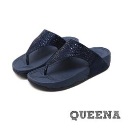 【QUEENA】閃耀燙鑽時尚人字夾腳舒適厚底拖鞋 藏青