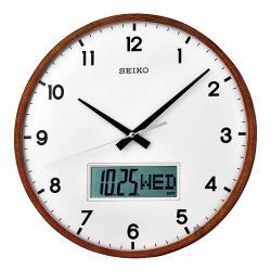 SEIKO精工 指針電子雙顯掛鐘-33cm QXL008B
