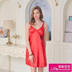 【蕾妮塔塔】彈力珍珠絲質 性感連身睡衣 古典玫瑰(R96028-8紅)