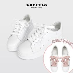 Robinlo雙綁帶甜美蝴蝶結真皮小白鞋ATHI-白色