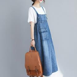 【ACheter】曠野佳人吊帶寬鬆牛仔洋裝#108594現貨+預購(藍)