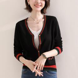 【MsMore】小香風雙色V領典雅針織外套#108609現貨+預購(3色)
