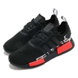 adidas 休閒鞋 NMD R1 襪套式 男女鞋 愛迪達 三葉草 Boost 緩震 情侶鞋 黑 紅 FX6794 [ACS 跨運動]