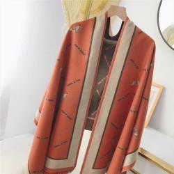 【韓國K.W.】(現貨)素雅經典羊絨披肩圍巾-橘色