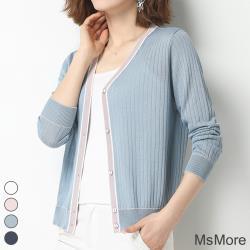 【MsMore】秋水宜人撞色直紋顯瘦針織外罩#107532現貨+預購(4色)