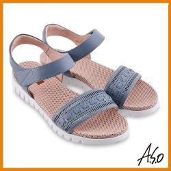 A.S.O 機能休閒 夏季輕量沖孔內襯金箔皮料休閒涼鞋-藍