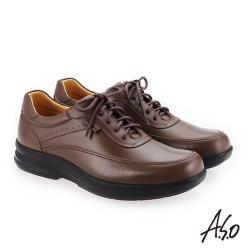 A.S.O 厚切超動力 綁帶奈米氣墊休閒皮鞋 深卡其