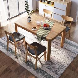 hoi!好好生活 林氏木業北歐橡木實木1.4M餐桌 CR2R+餐椅LS046-原木色 (一桌四椅)