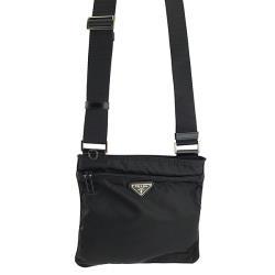PRADA 黑色防水帆布三角牌斜背方形小扁包(九成新展示品)
