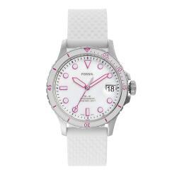 FOSSIL FB-01三指針日期白色矽膠手錶-ES4747