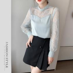 【GF 快時尚】氣質立領蕾絲拼接上衣 (S~XL)