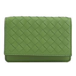 BOTTEGA VENETA 548511 手工編織小羊皮扣式名片夾.綠