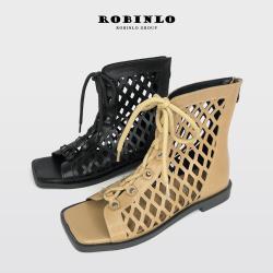 Robinlo時尚幾何鏤空羅馬綁帶魚口涼鞋JOSE-杏色/黑色