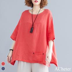 【ACheter】日系亮色棉麻開叉小口袋大碼上衣j#106554現貨+預購(2色)