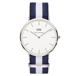 DW Daniel Wellington 經典藍白帆布錶帶-銀框/40mm(0204DW)