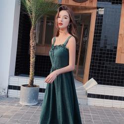 【KISSDIAMOND】小清新露背中長版小眾連身裙KDD-6308(氣質/優雅/甜美)