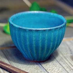 有種創意 - 日本益子燒 - 青綠燻刻紋茶杯