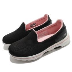 Skechers 休閒鞋 Go Walk 5 Wide 寬楦 女鞋 健走 郊遊 穩定 支撐 避震 緩衝 黑 白 124244WBKLP