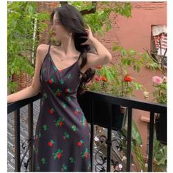 複古無袖花色連衣裙