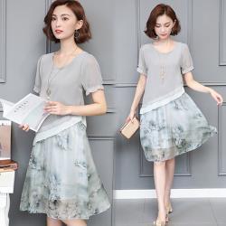 韓國K.W.  飄逸甜美雪紡顯瘦洋裝