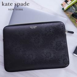kate Spade 13吋筆電蜀葵壓花緩震保護包/袋-黑色