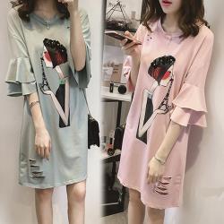 韓國K.W. 樂活舒適荷葉袖洋裝