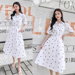 韓國K.W. 超有型小清新愛心印花洋裝