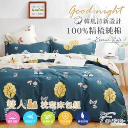 FOCA童話國度 雙人 韓風設計100%精梳純棉三件式薄枕套床包組