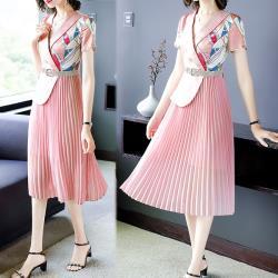 韓國K.W. 好評加碼純淨花盛翻領假兩件印花洋裝