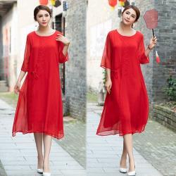 韓國K.W. 話題單品東方美韻典雅純色洋裝