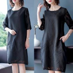 韓國K.W.  韓流都會風采紋理設計印花洋裝