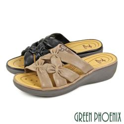 GREEN PHOENIX 避震輕量雙交叉扭結軟羊皮小坡跟厚底拖鞋U24-28902