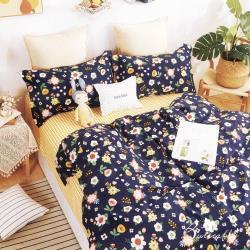 BUTTERFLY-純棉二件式枕套床包組-青青子衿-藍(單人加大)