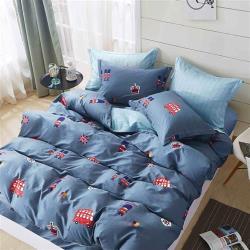 台灣製 精梳純棉 單人床包枕套兩件組-倫敦小鎮