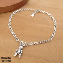 【海洋盒子】風格時尚小兔子造型925純銀手鍊.外鍍專櫃級正白K