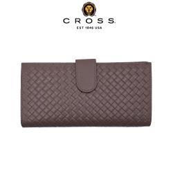 【CROSS】限量1折 頂級NAPPA小羊皮編織紋中扣式長夾 全新專櫃展示品(鴿子灰 附贈原廠送禮提袋)