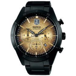 WIRED x 正義聯盟 JL 聯名限量計時手錶-金x鍍黑/45mm VD53-KEC0SD(AY8038X1)