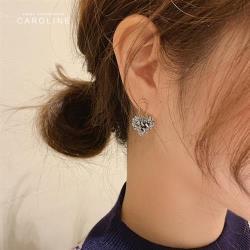 《Caroline》韓國熱賣高級感桃心水晶造型時尚 高雅大方設計 耳環72818