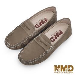 【Normady 諾曼地】柔軟羊皮反絨麂皮磁石增高樂福豆豆鞋-MIT手工鞋(卡其色)