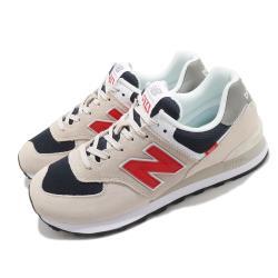 New Balance 休閒鞋 574 復古 低筒 男鞋 紐巴倫 麂皮 N字鞋 穿搭推薦 淺褐 紅 ML574SJ2D [ACS 跨運動]