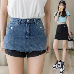 WHATDAY-青春減齡高腰包臀彈力牛仔裙S-2XL(共二色)