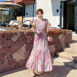 Dorri-柔雅浪漫印花Y領高腰疊層飄逸洋裝S-XL