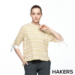 【HAKERS 哈克士】女 抗UV吸排五分袖綁帶條紋上衣(二色)