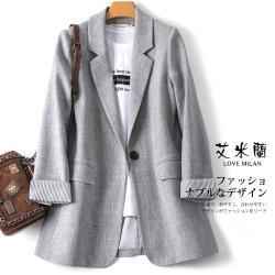 【艾米蘭】韓版翻領條紋袖口西裝外套(M-XL)