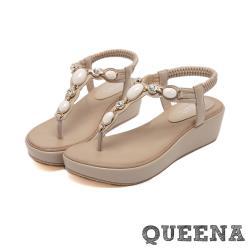 【QUEENA】時尚民族風美鑽寶石T字造型厚底夾腳涼鞋 杏